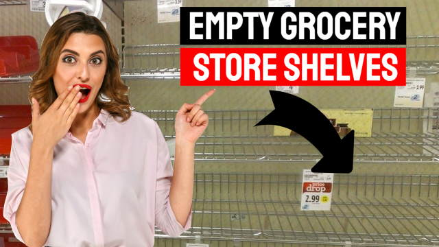 A woman shows shock when pointing to empty grocery store shelves.
