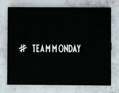 Image displays Team Monday Hashtag in rediness for Cber Monday and a CDB promotion.