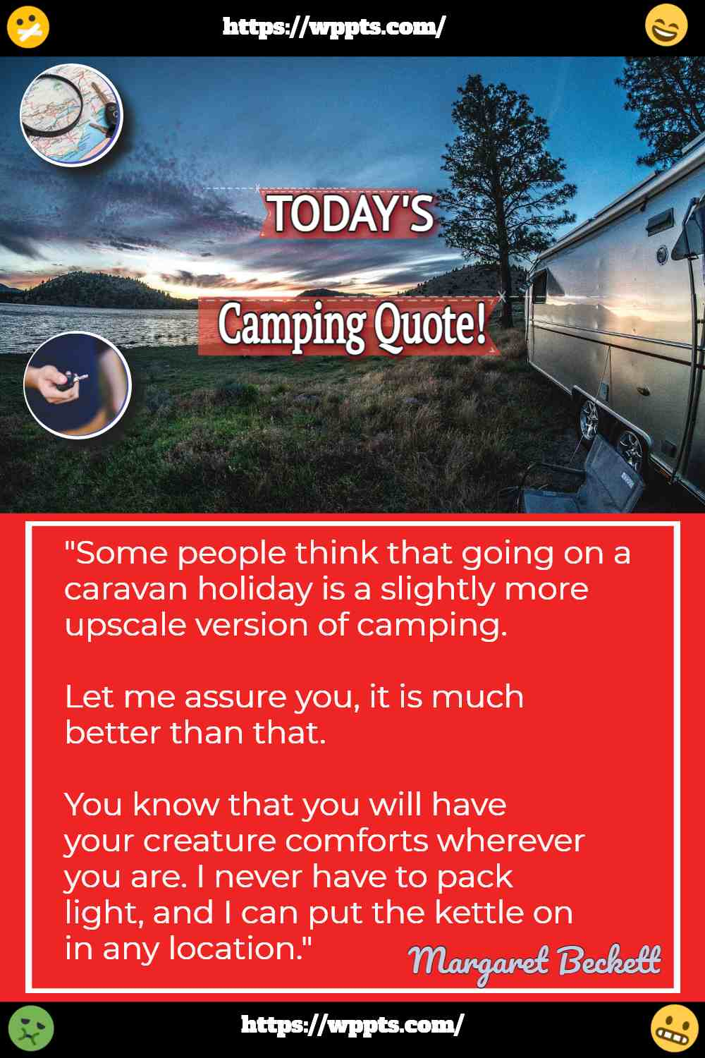 Image shows today's camping quote.