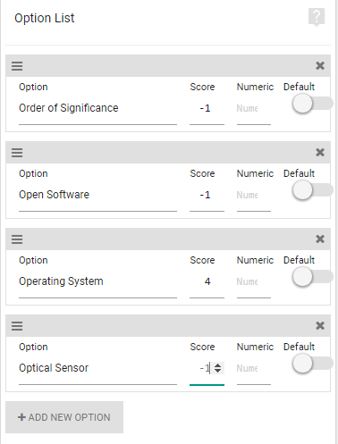 Dropdown Options Score