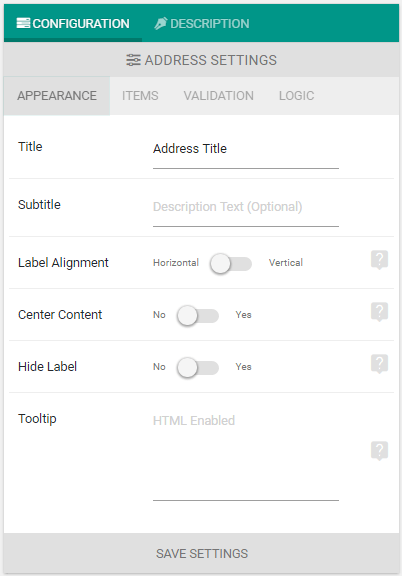 Address Element Appearance