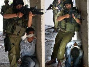 Żydowski żołnierz wykorzystuje palestyńskie dziecko jak żywą tarczę