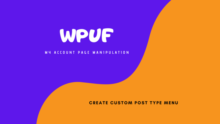 WPUF My Account Custom Menu