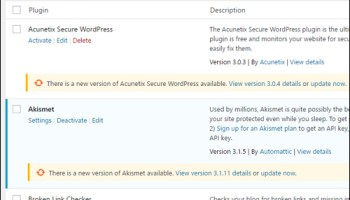 WordPress plugins need updating