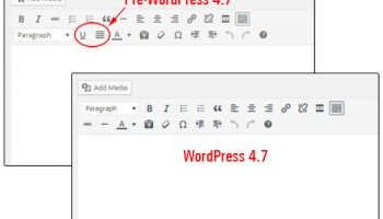 Underline And Justify Buttons Removed From The Editor In WordPress 4.7