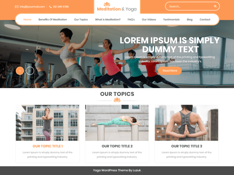 Meditation and Yoga, free fitness WordPress themes