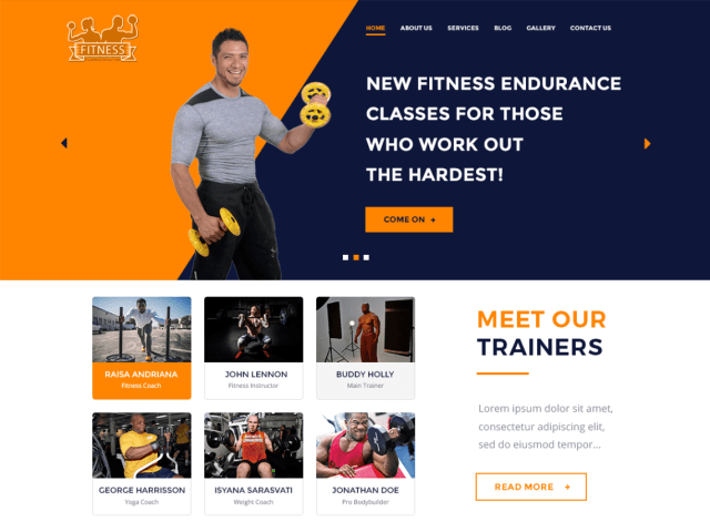 The WP Fitness, free fitness WordPress themes