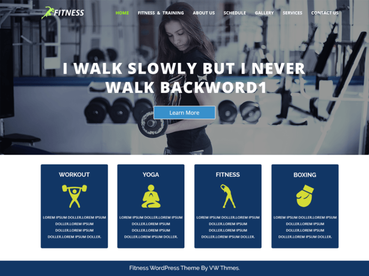 VW Fitness, free fitness WordPress themes