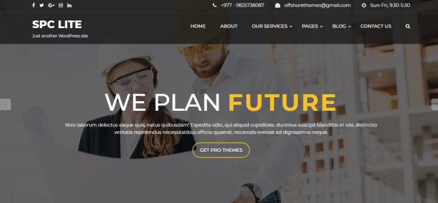 spark construction lite, a wordpress theme