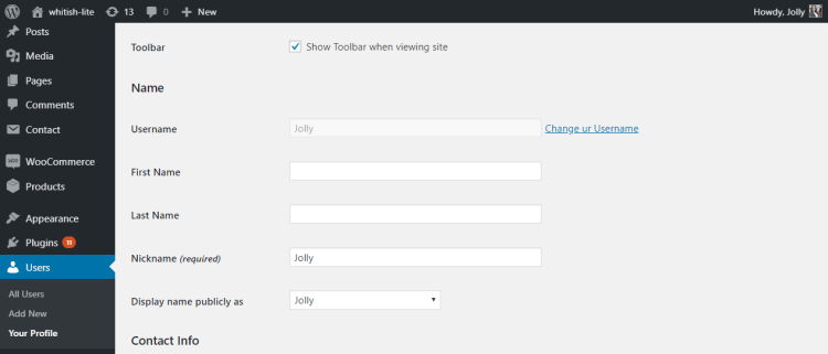 Change username in WordPress