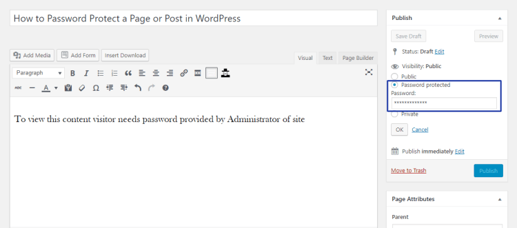 password protected post and page