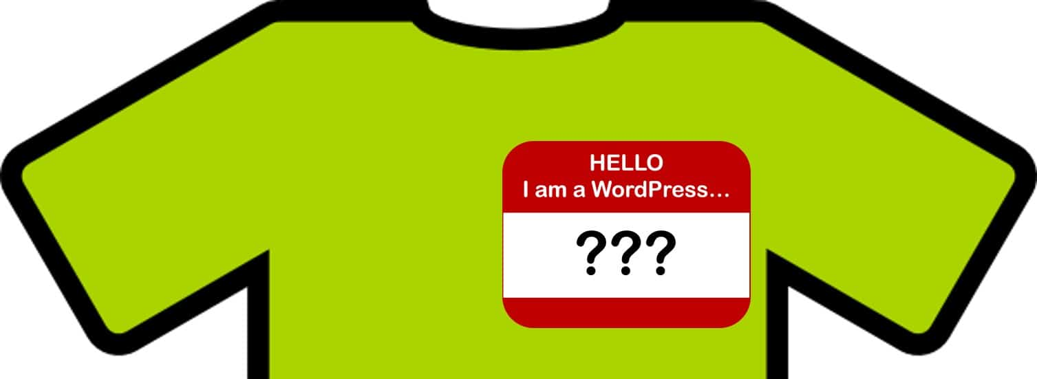 shirt with WordPress nametag