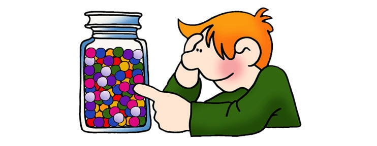 man estimating marbles in a jar