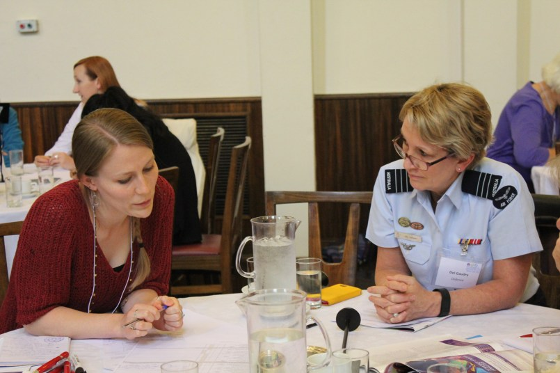 Alice Ridge (ACFID) & Del Gaudry (ADF) during small group discussions