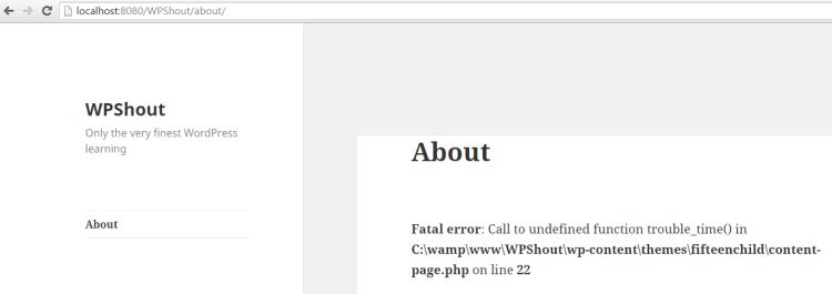 WordPress fatal error with error message