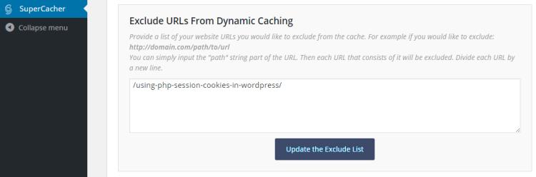 SuperCacher exclude URLs