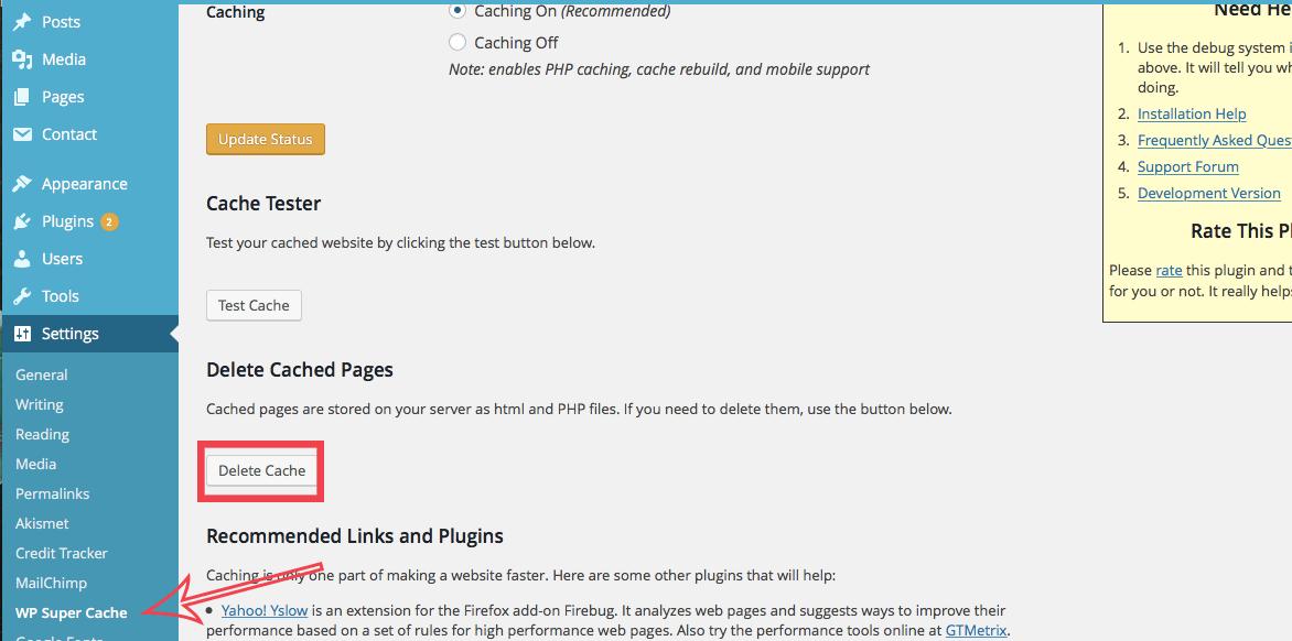 manually remove wp super cache