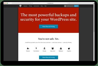 Capture d'écran de la solution de sauvegarde VaultPress WordPress