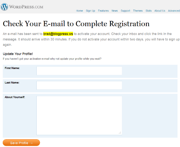 Check Your E-mail to Complete Registration