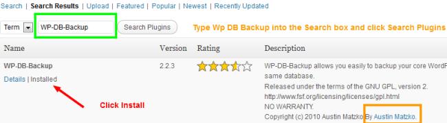 Install WP-DB-Backup Plugin