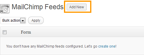 Add New MailChimp Feeds
