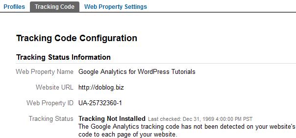 Google Analytics Tracking Code Configuration