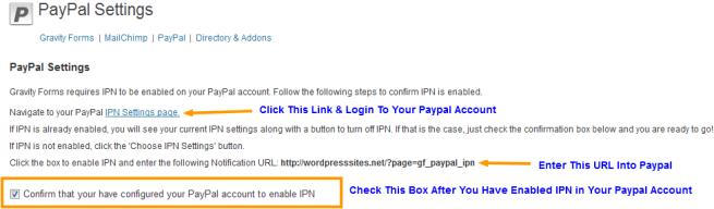 PayPal IPN Settings