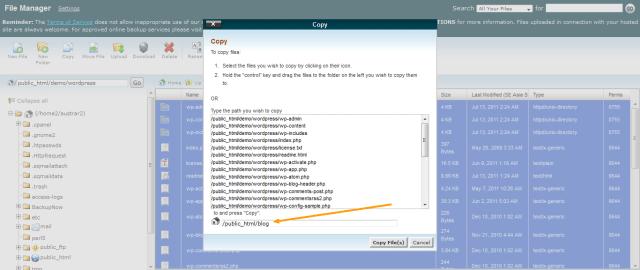 Copy WordPress Files to Installation Directory
