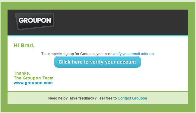 Verify email address to activate Groupon account