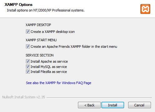 XAMPP Installation Options