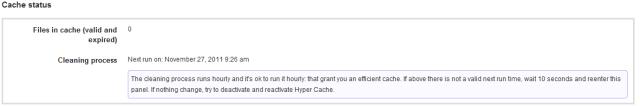 Hyper Cache - Status Settings