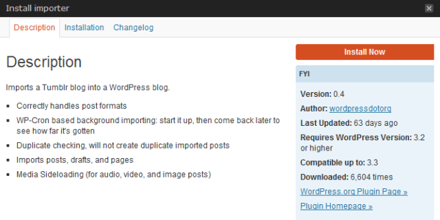 Install Tumblr Importer