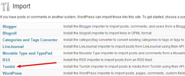 WordPress Tools - Import - Tumblr