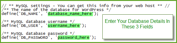 Enter Your Database Details In Your wp-config.php file