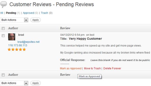 Customer Reviews Pending