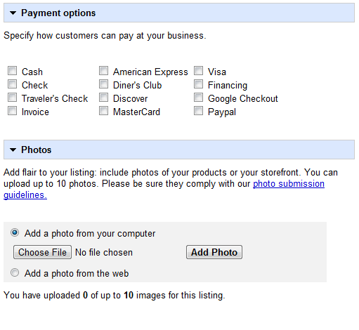 Payment Options and Photos