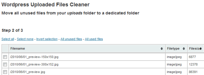 Move all unused files from your uploads folder to a dedicated folder