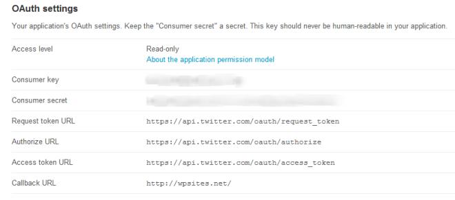 Application's OAuth Settings