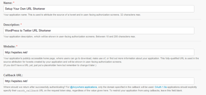 Create an application Twitter Developers
