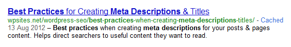 Example of a Meta Description Snippet in Search Results
