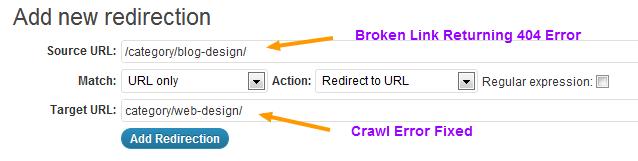 Add New Redirection