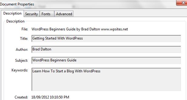 MS Word Doc Properties