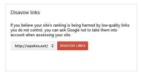 Webmaster Tools Disavow Links Tool