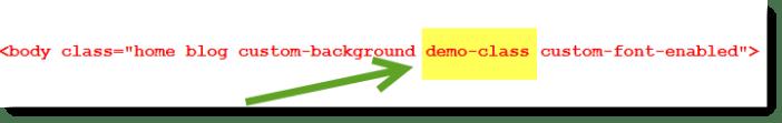 custom body class in HTML source code