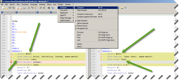 Compare Files Using Notepad++