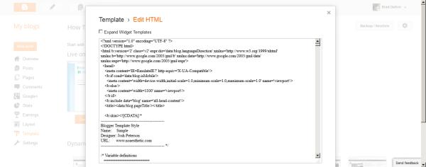 Delete Blogger Template HTML Code