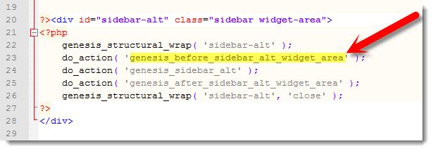 Sidebar Alt Hooks - Secondary sidebar Genesis