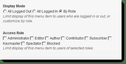 menu access roles