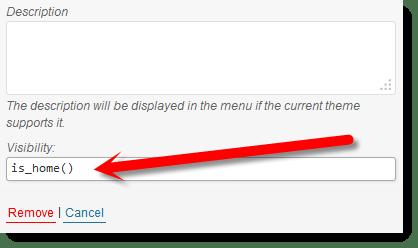 menu item visibility