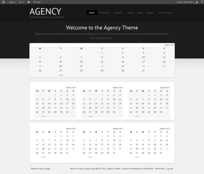 Default Agency theme home page template